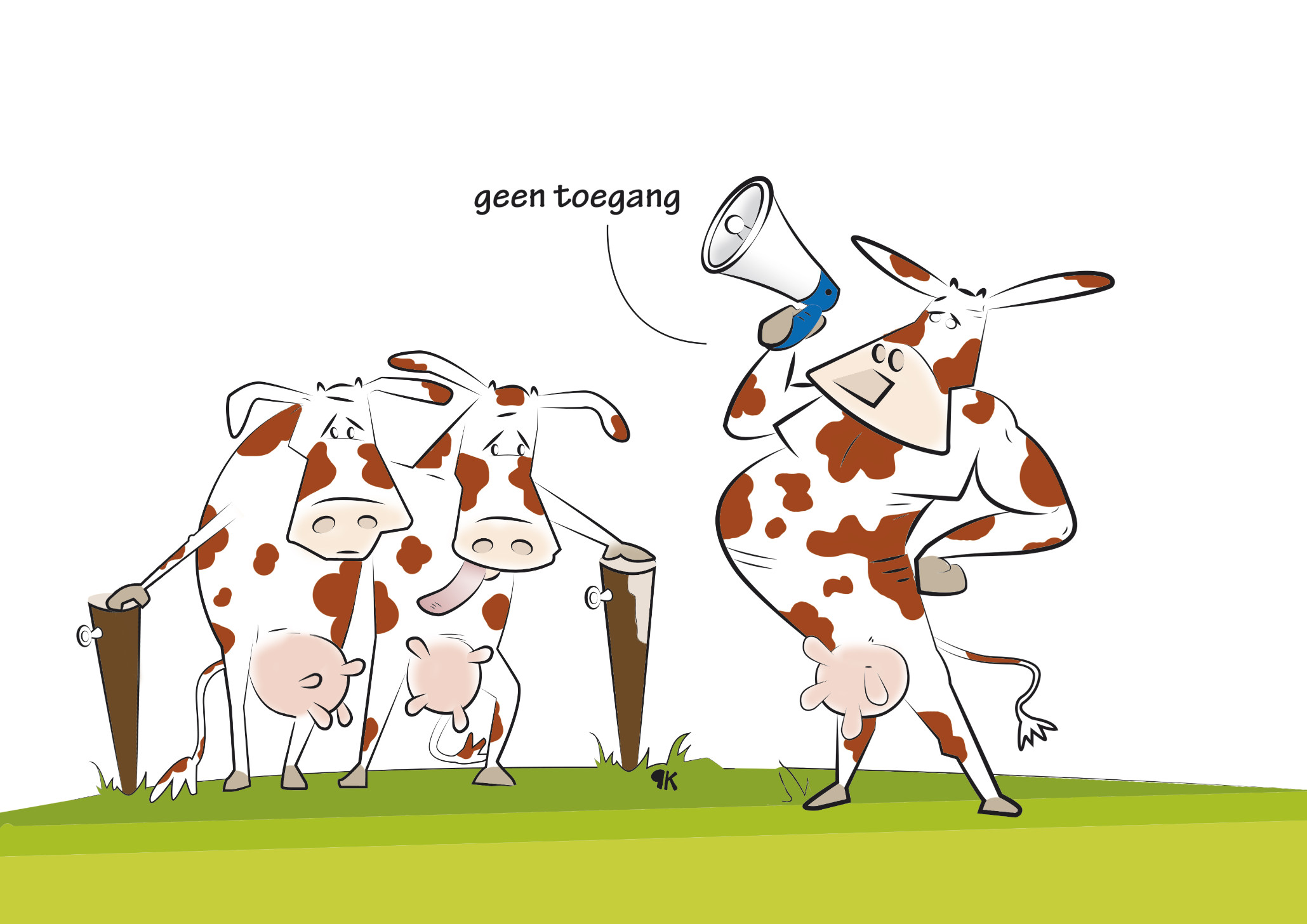 Alle seinen op groen om gras op gang te helpen